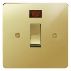 Focus SB Horizon HPB30.1 20 amp double pole rocker switch in Polished Brass