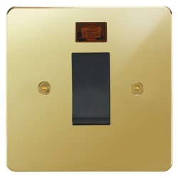 Focus SB Horizon HPB33.1B/SML 45 amp cooker control switch with neon in Polished Brass