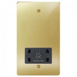 Focus SB Horizon HPB36.1B shaver socket (110/240V) in Polished Brass with black inserts