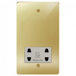 Focus SB Horizon HPB36.1W shaver socket (110/240V) in Polished Brass with white inserts