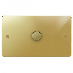 Focus SB Horizon HPB43.1 1 gang 700w low voltage, 1000w mains voltage dimmer in Polished Brass