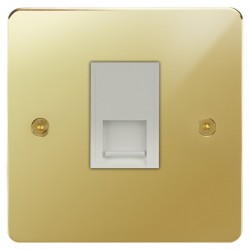 Focus SB Horizon HPB51.1W 1 gang CAT5 RJ45 socket in Polished Brass with white inserts