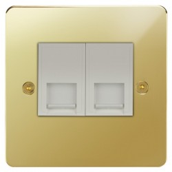 Focus SB Horizon HPB51.2W 2 gang CAT5 RJ45 socket in Polished Brass with white inserts