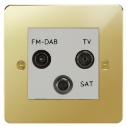 Focus SB Horizon HPB80.3W triplex TV/FM/Satellite outlet in Polished Brass with white inserts