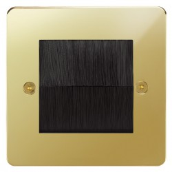 Focus SB Horizon HPBBRUSH.1 single plate with brush aperture in Polished Brass