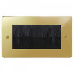 Focus SB Horizon HPBBRUSH.2 double plate with brush aperture in Polished Brass