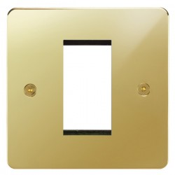 Focus SB Horizon HPBEUR.1 single aperture plate for a single euro module in Polished Brass
