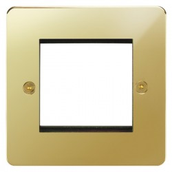 Focus SB Horizon HPBEUR.2 single aperture plate for two single euro modules in Polished Brass