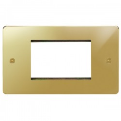 Focus SB Horizon HPBEUR.3 double aperture plate for three single euro modules in Polished Brass