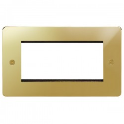 Focus SB Horizon HPBEUR.4 double aperture plate for four single euro modules in Polished Brass
