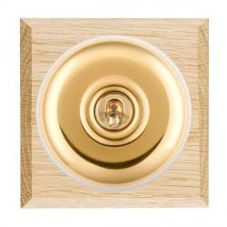 Hamilton Bloomsbury Chamfered Light Oak Plain Polished Brass 1 Gang 2 Way Toggle with White Insert