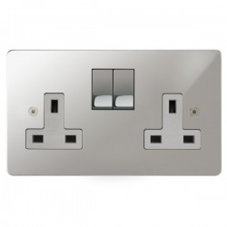 Focus SB Horizon HPC18.2W 2 gang 13 amp switched socket in Polished Chrome with white inserts