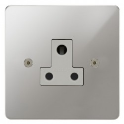 Focus SB Horizon HPC20.1W 1 gang 5 amp unswitched socket in Polished Chrome with white inserts