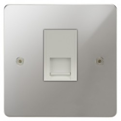 Focus SB Horizon HPC24.1W 1 gang master telephone socket in Polished Chrome with white inserts