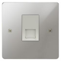 Focus SB Horizon HPC24.1W 1 gang master telephone socket in Polished Chrome with white inserts