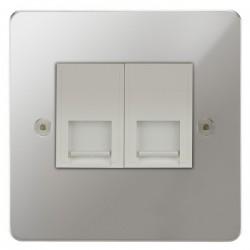 Focus SB Horizon HPC24.2W 2 gang master telephone socket in Polished Chrome with white inserts