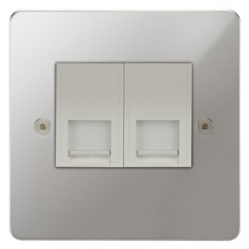 Focus SB Horizon HPC24.2W 2 gang master telephone socket in Polished Chrome with white inserts