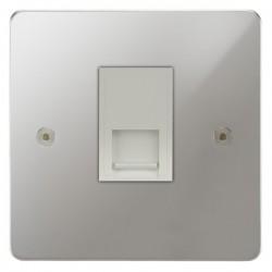 Focus SB Horizon HPC25.1W 1 gang slave telephone socket in Polished Chrome with white inserts