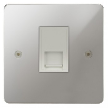Focus SB Horizon HPC25.1W 1 gang slave telephone socket in Polished Chrome with white inserts