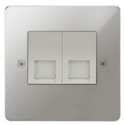 Focus SB Horizon HPC25.2W 2 gang slave telephone socket in Polished Chrome with white inserts