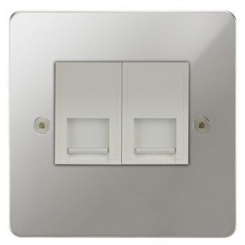 Focus SB Horizon HPC25.2W 2 gang slave telephone socket in Polished Chrome with white inserts