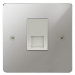 Focus SB Horizon HPC51.1W 1 gang CAT5 RJ45 socket in Polished Chrome with white inserts
