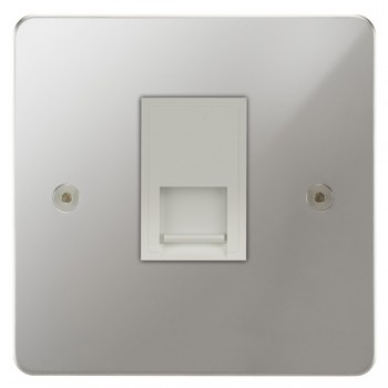 Focus SB Horizon HPC51.1W 1 gang CAT5 RJ45 socket in Polished Chrome with white inserts