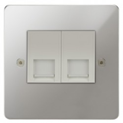 Focus SB Horizon HPC51.2W 2 gang CAT5 RJ45 socket in Polished Chrome with white inserts
