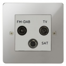 Focus SB Horizon HPC80.3W triplex TV/FM/Satellite outlet in Polished Chrome with white inserts