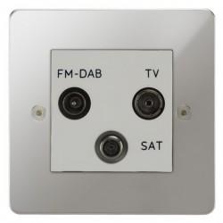 Focus SB Horizon HPC80.3W triplex TV/FM/Satellite outlet in Polished Chrome with white inserts