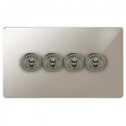 Focus SB Horizon HPN14.4 4 gang 20 amp 2 way toggle switch in Polished Nickel