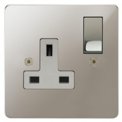Focus SB Horizon HPN18.1W 1 gang 13 amp switched socket in Polished Nickel with white inserts