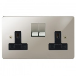 Focus SB Horizon HPN18.2B 2 gang 13 amp switched socket in Polished Nickel with black inserts