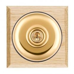 Hamilton Bloomsbury Chamfered Light Oak Plain Polished Brass 1 Gang Intermediate Toggle with Black Insert