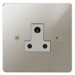 Focus SB Horizon HPN20.1W 1 gang 5 amp unswitched socket in Polished Nickel with white inserts
