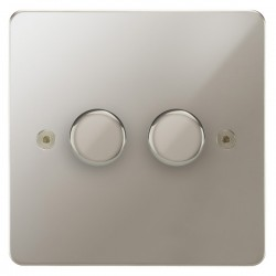 Focus SB Horizon HPN21.2 2 gang 2 way 250W (mains and low voltage) dimmer in Polished Nickel