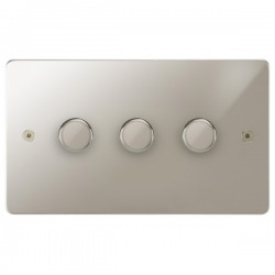 Focus SB Horizon HPN21.3 3 gang 2 way 250W (mains and low voltage) dimmer in Polished Nickel