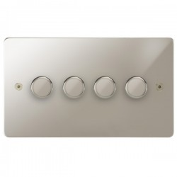 Focus SB Horizon HPN21.4 4 gang 2 way 250W (mains and low voltage) dimmer in Polished Nickel