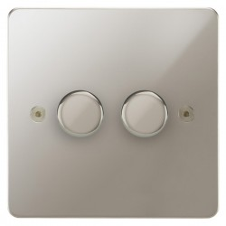Focus SB Horizon HPN22.2 2 gang 2 way 400W (mains and low voltage) dimmer in Polished Nickel