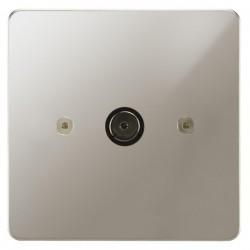 Focus SB Horizon HPN23.1 1 gang isolated co-axial TV socket in Polished Nickel