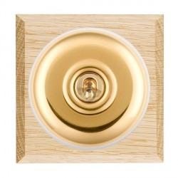 Hamilton Bloomsbury Chamfered Light Oak Plain Polished Brass 1 Gang Intermediate Toggle with White Insert