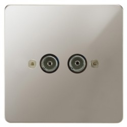 Focus SB Horizon HPN23.2 2 gang isolated co-axial TV socket in Polished Nickel