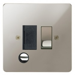 Focus SB Horizon HPN28.1B 13 amp switched fuse spur with cord outlet in Polished Nickel with black inserts