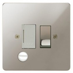 Focus SB Horizon HPN28.1W 13 amp switched fuse spur with cord outlet in Polished Nickel with white inserts