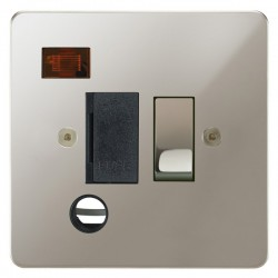 Focus SB Horizon HPN29.1B 13 amp switched fuse spur with cord outlet and neon in Polished Nickel with black inserts