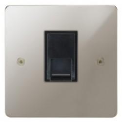 Focus SB Horizon HPN51.1B 1 gang CAT5 RJ45 socket in Polished Nickel with black inserts