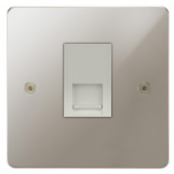 Focus SB Horizon HPN51.1W 1 gang CAT5 RJ45 socket in Polished Nickel with white inserts