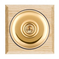 Hamilton Bloomsbury Chamfered Light Oak Plain Polished Brass 1 Gang Double Pole Toggle with Black Insert