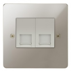 Focus SB Horizon HPN51.2W 2 gang CAT5 RJ45 socket in Polished Nickel with white inserts