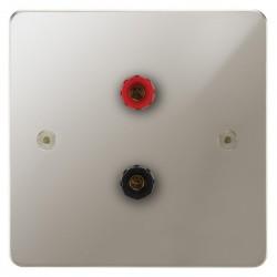 Focus SB Horizon HPN67.1 1 gang speaker outlet (1 red 1 black 4mm socket) in Polished Nickel